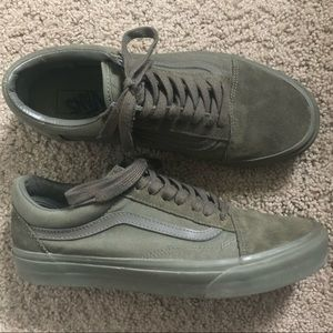 Green Suede Vans Old Skool Shoes